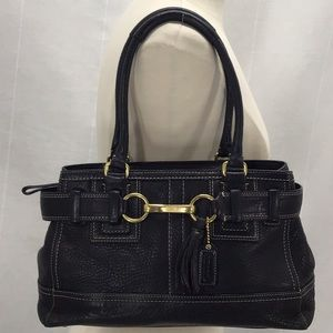 Coach Hamptons Black Pebble Leather Carryall Tote